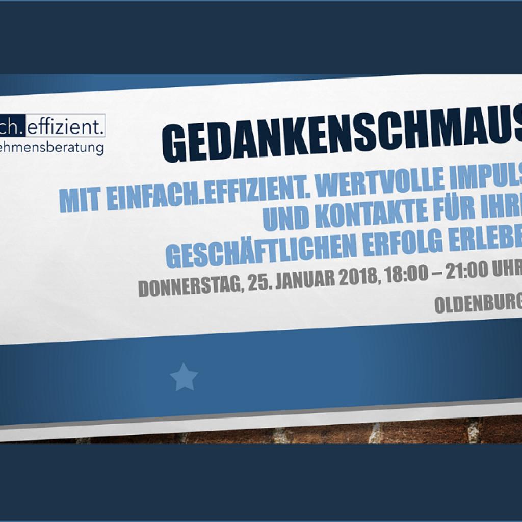 Wirtschaftsevent 2018 Gedankenschmaus Innovationsmanagement Event - einfach.effizient.-Unternehmensberatung Oldenburg