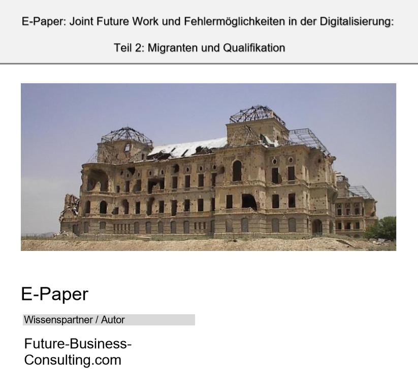 E-Paper Joint Future Work und Fehlermöglichkeiten in der Digitalisierung - Teil 2 - Migranten und Qualifikation